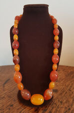 VINTAGE CHINESE BUTTERSCOTCH BALTIC & CARNELIAN AGATE BEAD NECKLACE 47 G.