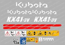 KUBOTA KX41-3V MINI BAGGER KOMPLETTE AUFKLEBER SATZ MIT SICHERHEIT-WARNZEICHEN
