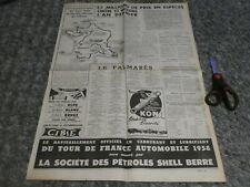 TOUR DE FRANCE AUTOMOBILE 1958 GRAND PAGE CARTE ALFA ROMEO GIULIETTA