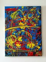 Original Art Acrylic Abstract Painting on canvas Artist Signed Wall Decor  Super