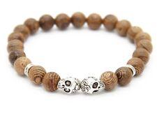 Brown Wood Double Skull Beads Stretch Prayer Mala Bracelet Wristband