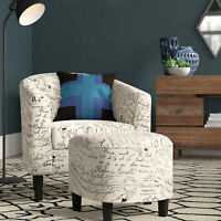 Accent Chair with Curved Back & French Print w/ Ottoman Modern Armrest, Beige
