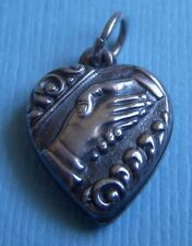 Vintage handshake puffy heart sterling charm