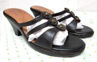 Clarks Dark Brown leather women's size 7.5 M high heel sandals slides