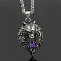 Vintage Norse Viking Stainless Steel Wolf&Crystal Pendant Necklace Amulet Gifts