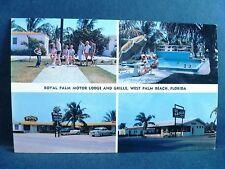 Postcard FL West Palm Beach Royal Plam Motor Lodge & Grill 1950's Old Cars
