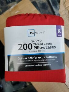 Set of 2 Mainstays 200 Thread Count  Pillowcases King Size red