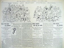 BEST 2 1893 newspapers YALE DEFEATS HARVARD in FOOTBALL rivalry -w TEAM PICTURES