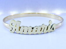 "PERSONALIZED BABY 14K GOLD GF NAME BANGLE BRACELET 5mm WIDE 2"" IN DIAMETER  6"" L"