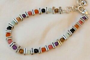 Authentic Brighton Confetti Silver & Multi-color Semi Precious Beads Bracelet