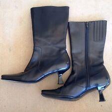 ENZO ANGIOLINI Leather Tall Zipper Black Dress Boots Heel 6 1/2B Shakira Women