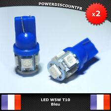2 Veilleuses ampoules LED W5W T10 Bleu 5 SMD voiture moto