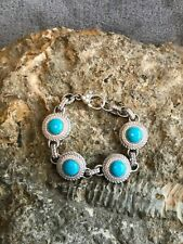 Stunning Judith Ripka SS Turquoise and Diamonique Bracelet 6 ¾ inches EUC