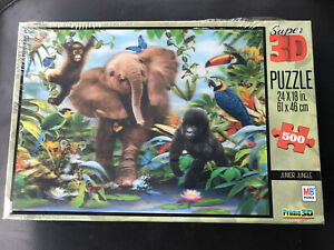 "Super 3D Junior Jungle Puzzle 500 pieces 24"" x 18"" Milton Bradley NEW sealed"