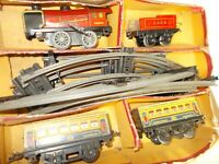 TRAIN MECCANO PARIS SERIE HORNBY M, LOCO 3.1225/TENDER/2 WAGONS PULLMAN+ RAILS