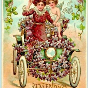 NICE Embossed 1908 Valentine Greeting Lilac Auto Carriage Car Girl w/ Cupid A5