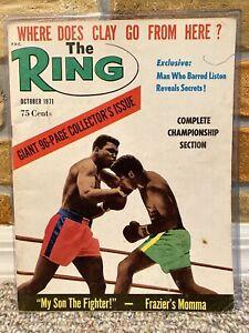 THE RING BOXING MAGAZINE MUHAMMAD ALI JOE FRAZIER October 1971 XLNT