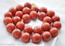 Real Big 22mm Red Grass Coral Gems Round Bead Necklace 18'' AAA +