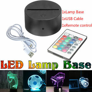 3D Led Lamp Base Night Light USB Touch 7 Colors Change Lamp Panel Remote ATF