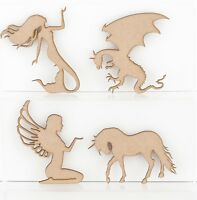 Wooden MDF Craft Shapes Fantasy Fairy Unicorn Mermaid Dragon 3mmThick