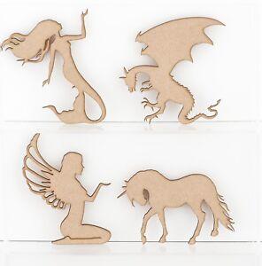 Wooden MDF Craft Shapes Fantasy Fairy Unicorn Mermaid Dragon 3mmThick
