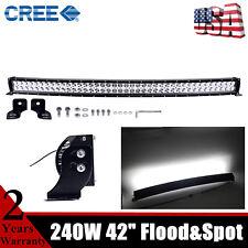 42inch 240W LED Curved Light Bar Flood Spot Driving Fog Lamp Offroad Slim 43inch