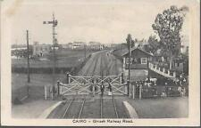 Cairo, Egypt - Ghizeh Railway Road, level crossing, station - postcard c.1920s