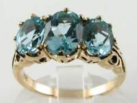 BIG 9K 9CT GOLD BLUE TOPAZ ART DECO VINTAGE INS 3 STONE RING 3.60 CWT FREE SIZE