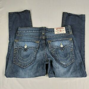 True Religion Jeans Slim Blue Denim Straight Leg Mid Rise Mens Size 34x28