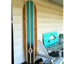 6 Foot Wood Surfboard longboard style with ombre stripes and stain