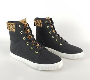 """Timberland Women's Skyla Bay 6"""" Leopard / Black Leather 11 Ankle Boot A2F1P-001"""