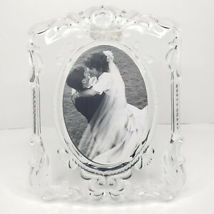 Mikasa Picture Frame Princess Crystal Frosted Wedding Oval 5x7 SA751/829 Germany