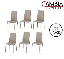 Pack de 6 sillas comedor CORFÚ en símil piel negro, marrón y en tela gris, beige