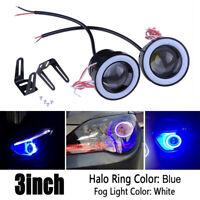 3Inch 76mm COB LED Angel Eyes Car DRL Fog Light Lens Projector Halo Fog Lamp 10W