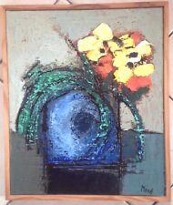 """Belle huile sur toile de Jean Moiras(1945-), """"Le vase bleu"""", Venard,Mouly"""