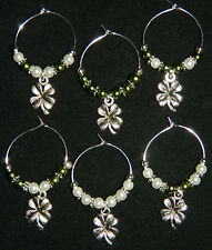 6 Glass Pearl Silver 4 Leaf Clover Wine Glass Charms Drink Markers Shamrock