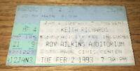 February 2 1993 KEITH RICHARDS Ticket Stub Roy Wilkins Auditorium Saint Paul, MN