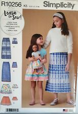 "Simplicity Learn to Sew pattern R10256 Girls Skirt, 18"" Doll Skirt sz 7-14 uncut"