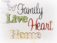 FAMILY HOME LIVE HEART x 4 words EaPk CHIPWOOD WORDS - 5-7cmLong & 2-4.5cmHigh
