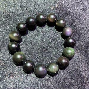14mm TOP Natural Rainbow eye Obsidian Gemstone Round Beads Stretch Bracelet AAAA