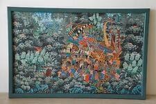Superbe HST Signé Indonésie Cérémonie Penestanan Bali Temple Art Naif Asie