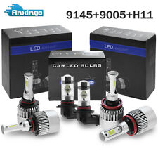 9005+H11 LED Headlight Hi Low+9145 H10 Fog Bulbs For Ford F-150 2015-2017 White