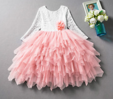 Flower Girls Party Tutu Dress Long Sleeve Wedding Bridesmaid Princess Dress ZG8