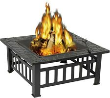 Zeny Outdoor 32'' Metal Fire Pits Square Table Backyard Patio Grill with Cover