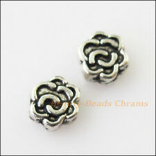 40Pcs Antiqued Silver Tone Tiny Rose Flower Spacer Beads Charms 7mm