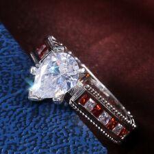 Fashion 925 Silver Rings Women Pear Cut White Sapphire Wedding Ring Size 9