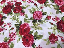 Shabby Chic Red Roses . 100% Cotton. Beautiful And Delicate . Good Quality. BTY