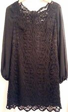 ADRIANNA PAPELL Black Poly/Nyl Lace/Crochet Overlay, Lined, Evening Dress SIZE 8
