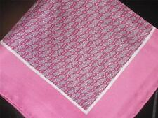 "14"" 100% SILK POCKET SQUARE HAND ROLLED PINK SHERBET  PRINT-M"
