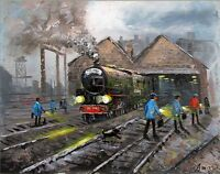 100%HAND-PAINTED ART ACRYLIC OIL PAINTING STEAM TRAIN  CITYSCAPE 16X20INCH